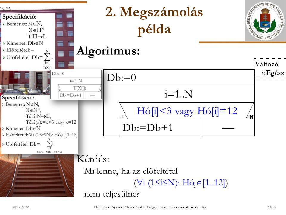 ELTE 2013.09.22. 2. Megszámolás példa Algoritmus: Kérdés: Mi lenne, ha az előfeltétel (  i (1  i  N): Hó i  [1..12]) nem teljesülne? Db:=0 i=1..N