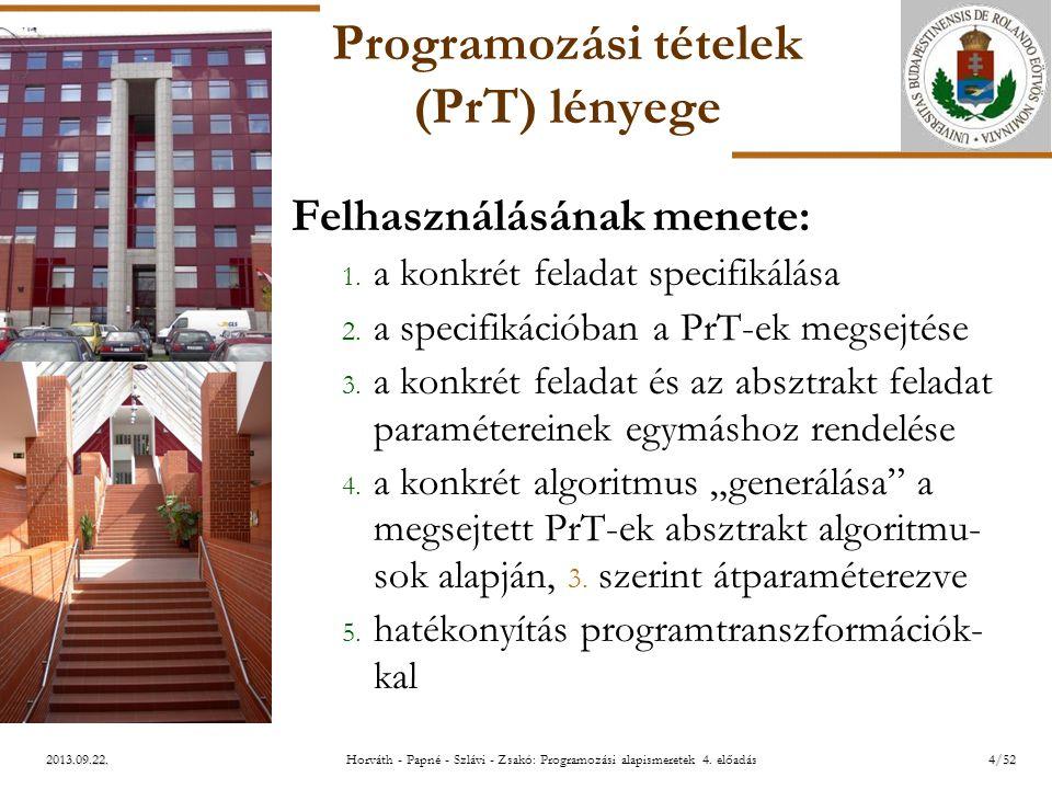 ELTE 2013.09.22. Programozási tételek (PrT) lényege Felhasználásának menete: 1. a konkrét feladat specifikálása 2. a specifikációban a PrT-ek megsejté