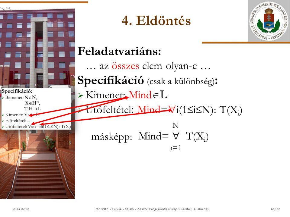 ELTE 2013.09.22. 4. Eldöntés Feladatvariáns: … az összes elem olyan-e … Specifikáció (csak a különbség) :  Kimenet: Mind  L  Utófeltétel : Mind= 