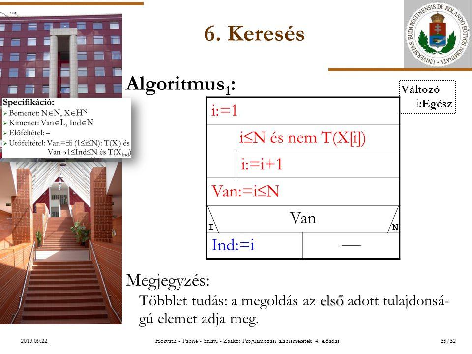ELTE 2013.09.22. 6. Keresés Algoritmus 1 : Megjegyzés: első Többlet tudás: a megoldás az első adott tulajdonsá- gú elemet adja meg. i:=1 i  N és nem