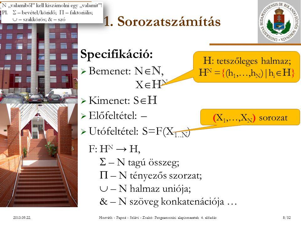 ELTE 2013.09.22. 1. Sorozatszámítás Specifikáció:  Bemenet: N  N, X  H N  Kimenet: S  H  Előfeltétel: –  Utófeltétel: S=F(X 1..N ) F: H N → H,