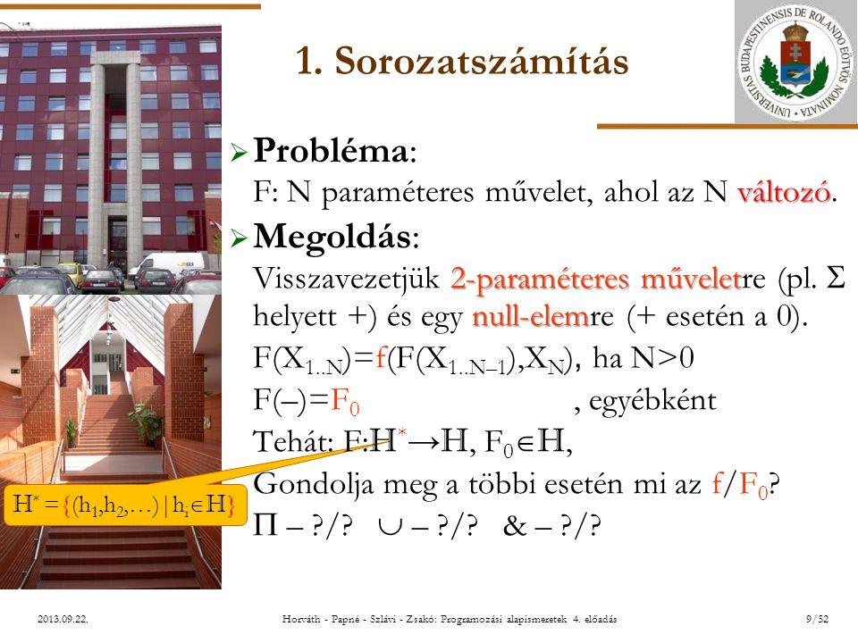 ELTE H * ={(h 1,h 2,…)|h i  H } 2013.09.22. 1. Sorozatszámítás változó  Probléma: F: N paraméteres művelet, ahol az N változó. 2-paraméteres művelet