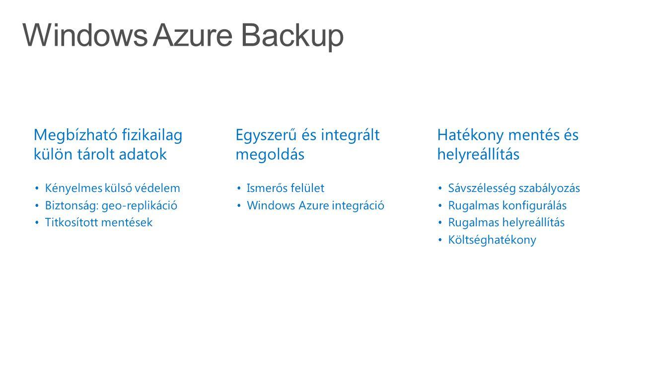 Windows Azure Backup Simple and reliable server backup to the cloud Megbízható fizikailag külön tárolt adatok Kényelmes külső védelem Biztonság: geo-replikáció Titkosított mentések Egyszerű és integrált megoldás Ismerős felület Windows Azure integráció Hatékony mentés és helyreállítás Sávszélesség szabályozás Rugalmas konfigurálás Rugalmas helyreállítás Költséghatékony