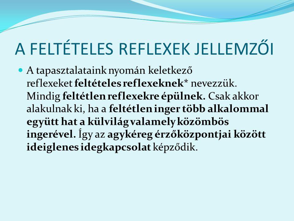 A FELTÉTELES REFLEXEK JELLEMZŐI A tapasztalataink nyomán keletkező reflexeket feltételes reflexeknek* nevezzük. Mindig feltétlen reflexekre épülnek. C