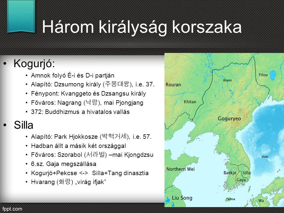 Három királyság korszaka Kogurjó: Amnok folyó É-i és D-i partján Alapító: Dzsumong király ( 주몽대왕 ), i.e. 37. Fénypont: Kvanggeto és Dzsangsu király Fő