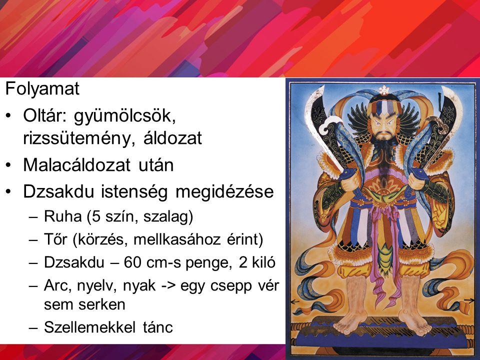 Folyamat Oltár: gyümölcsök, rizssütemény, áldozat Malacáldozat után Dzsakdu istenség megidézése –Ruha (5 szín, szalag) –Tőr (körzés, mellkasához érint
