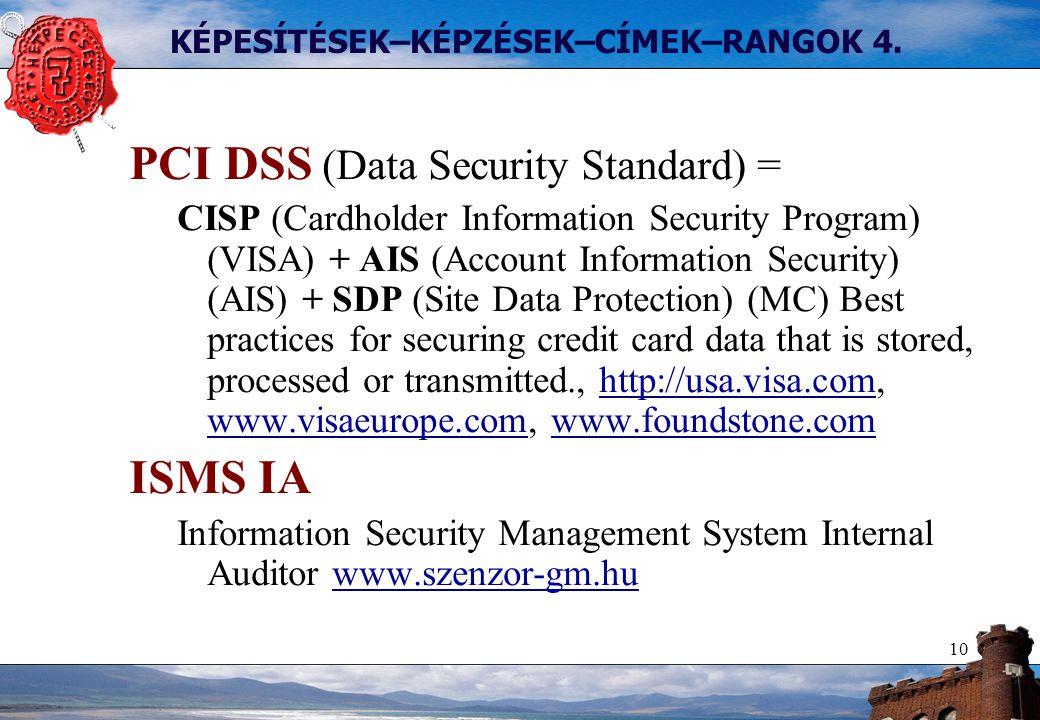 10 KÉPESÍTÉSEK–KÉPZÉSEK–CÍMEK–RANGOK 4. PCI DSS (Data Security Standard) = CISP (Cardholder Information Security Program) (VISA) + AIS (Account Inform