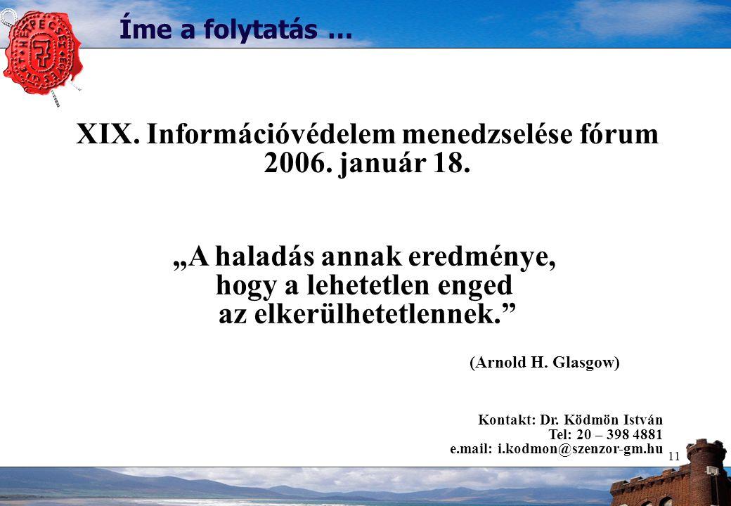 """11 Íme a folytatás … """"A haladás annak eredménye, hogy a lehetetlen enged az elkerülhetetlennek."""" (Arnold H. Glasgow) XIX. Információvédelem menedzselé"""