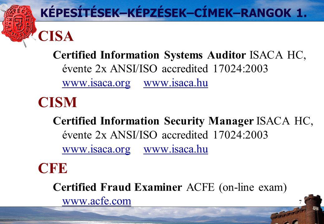 7 KÉPESÍTÉSEK–KÉPZÉSEK–CÍMEK–RANGOK 1. CISA Certified Information Systems Auditor ISACA HC, évente 2x ANSI/ISO accredited 17024:2003 www.isaca.org www