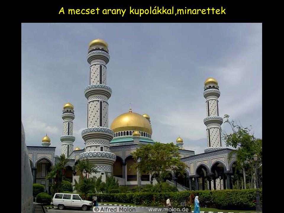 A mecset arany kupolákkal,minarettek és kert