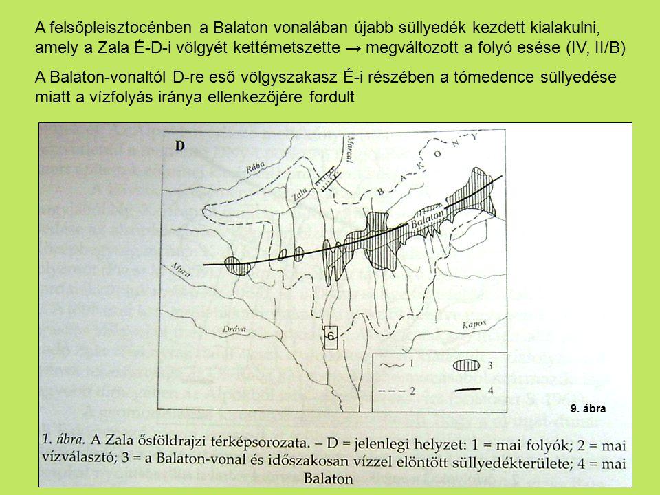 A felsőpleisztocénben a Balaton vonalában újabb süllyedék kezdett kialakulni, amely a Zala É-D-i völgyét kettémetszette → megváltozott a folyó esése (