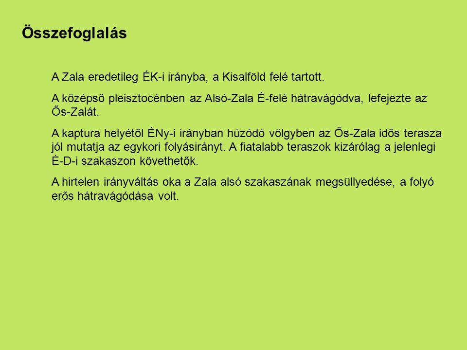 Összefoglalás A Zala eredetileg ÉK-i irányba, a Kisalföld felé tartott. A középső pleisztocénben az Alsó-Zala É-felé hátravágódva, lefejezte az Ős-Zal