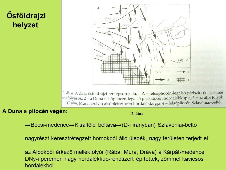 Ősföldrajzi helyzet A Duna a pliocén végén: →Bécsi-medence→Kisalföld beltava→(D-i irányban) Szlavóniai-beltó nagyrészt keresztrétegzett homokból álló
