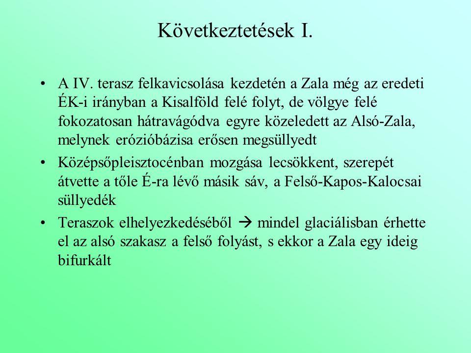 Következtetések I. A IV. terasz felkavicsolása kezdetén a Zala még az eredeti ÉK-i irányban a Kisalföld felé folyt, de völgye felé fokozatosan hátravá