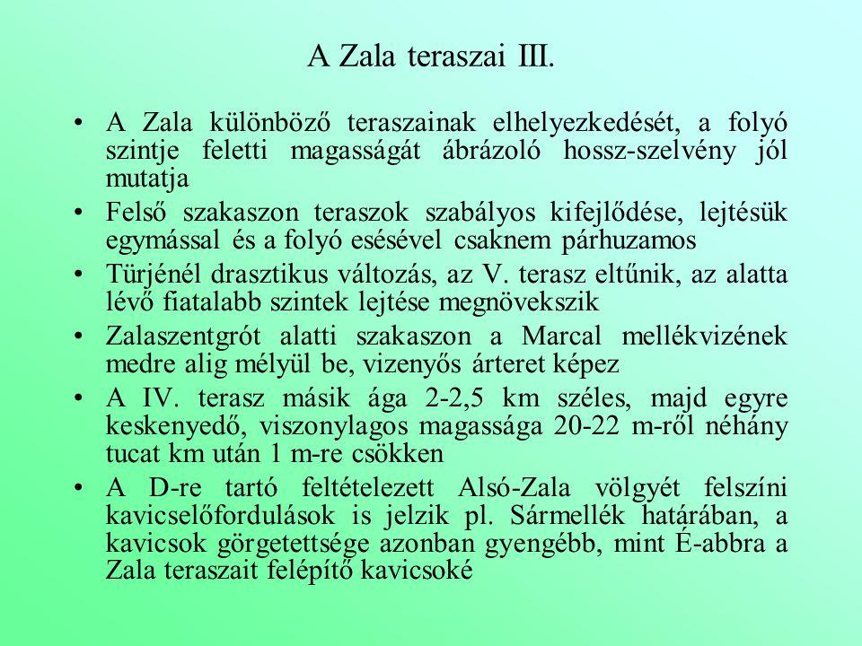 A Zala teraszai III. A Zala különböző teraszainak elhelyezkedését, a folyó szintje feletti magasságát ábrázoló hossz-szelvény jól mutatja Felső szakas