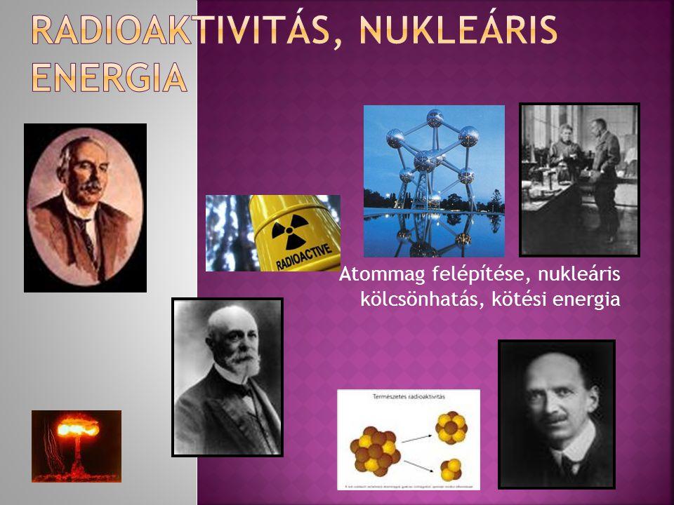 Atommag felépítése, nukleáris kölcsönhatás, kötési energia