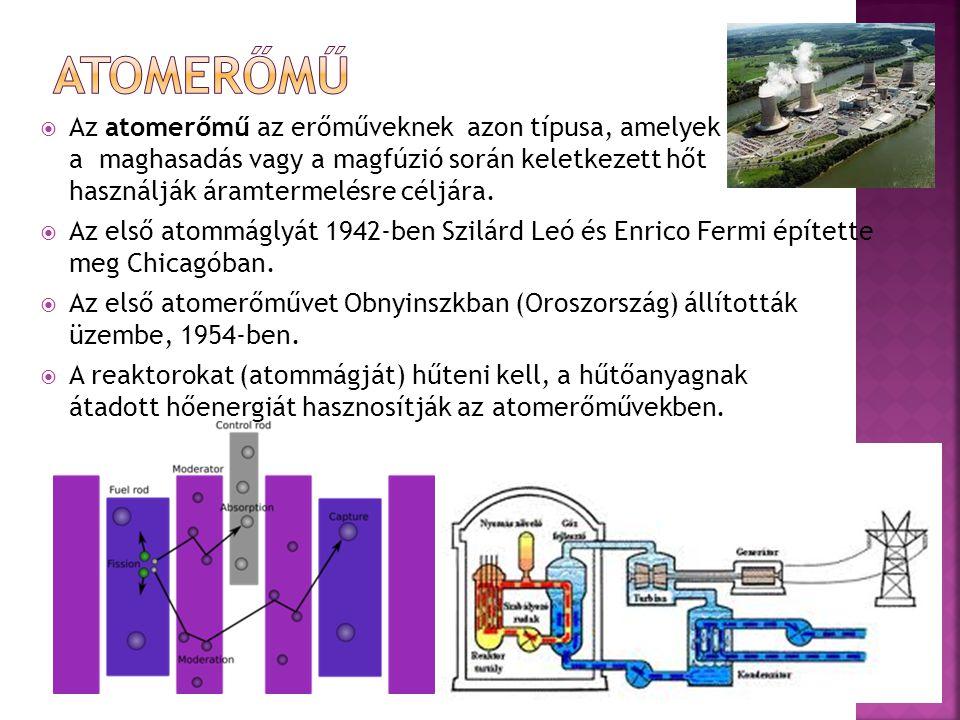  Az atomerőmű az erőműveknek azon típusa, amelyek a maghasadás vagy a magfúzió során keletkezett hőt használják áramtermelésre céljára.  Az első ato