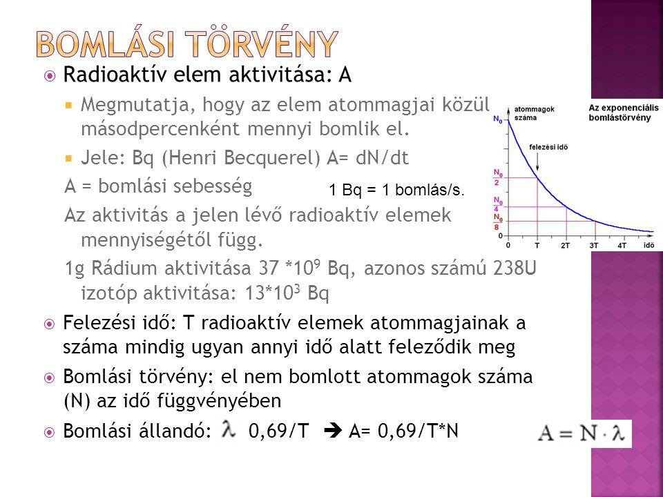  Radioaktív elem aktivitása: A  Megmutatja, hogy az elem atommagjai közül másodpercenként mennyi bomlik el.  Jele: Bq (Henri Becquerel) A= dN/dt A