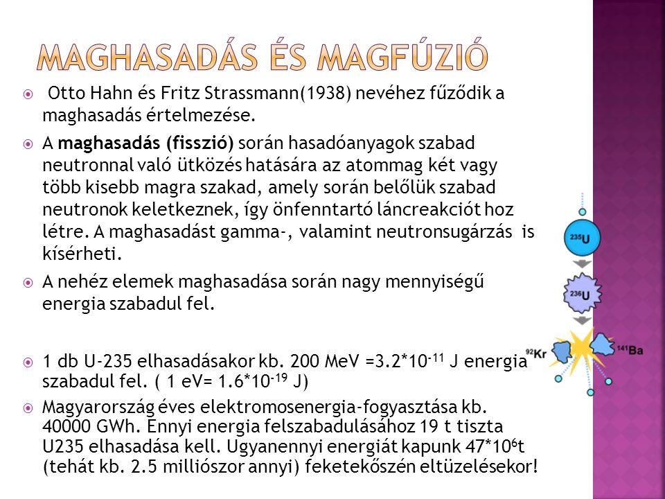  Otto Hahn és Fritz Strassmann(1938) nevéhez fűződik a maghasadás értelmezése.  A maghasadás (fisszió) során hasadóanyagok szabad neutronnal való üt