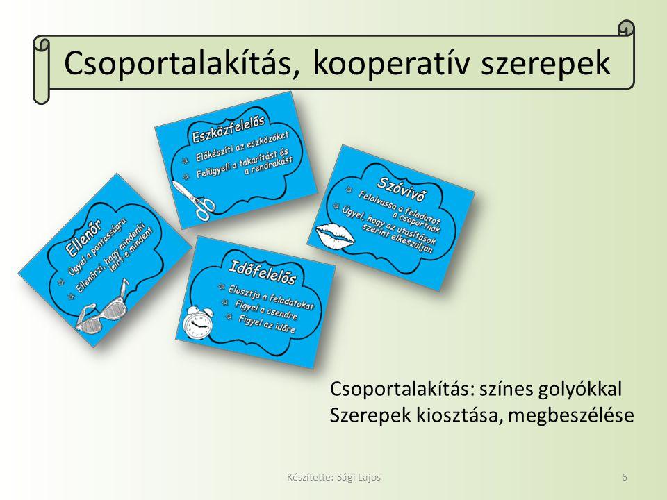 Csoportalakítás, kooperatív szerepek Készítette: Sági Lajos6 Csoportalakítás: színes golyókkal Szerepek kiosztása, megbeszélése