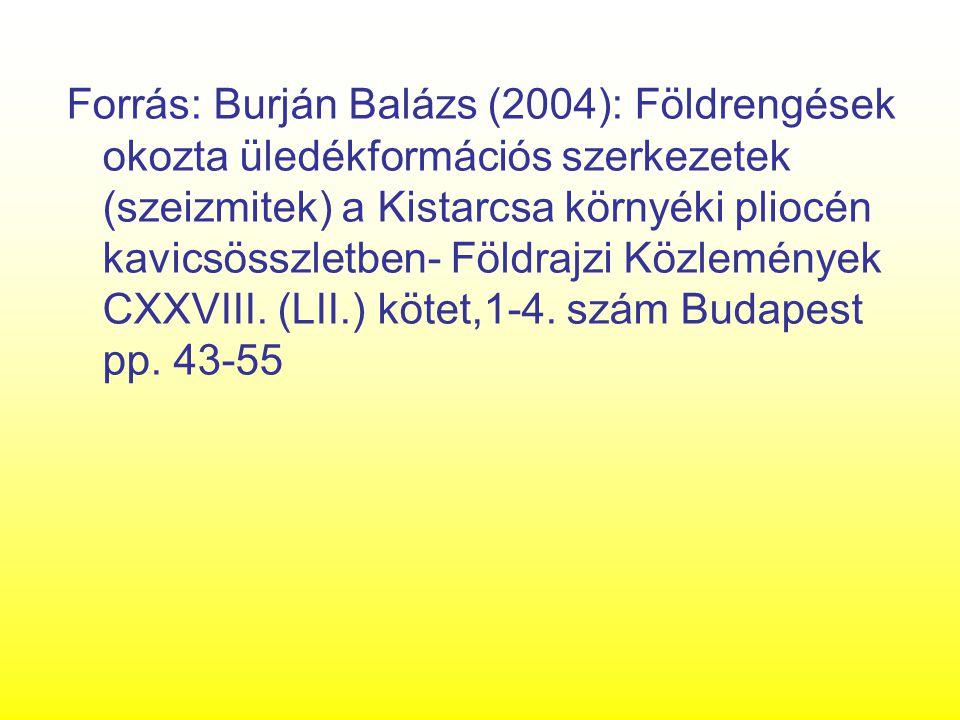 Forrás: Burján Balázs (2004): Földrengések okozta üledékformációs szerkezetek (szeizmitek) a Kistarcsa környéki pliocén kavicsösszletben- Földrajzi Kö