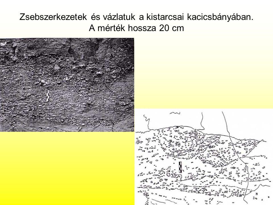 Zsebszerkezetek és vázlatuk a kistarcsai kacicsbányában. A mérték hossza 20 cm