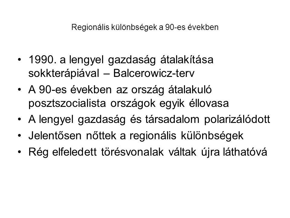 Regionális különbségek a 90-es években 1990. a lengyel gazdaság átalakítása sokkterápiával – Balcerowicz-terv A 90-es években az ország átalakuló posz
