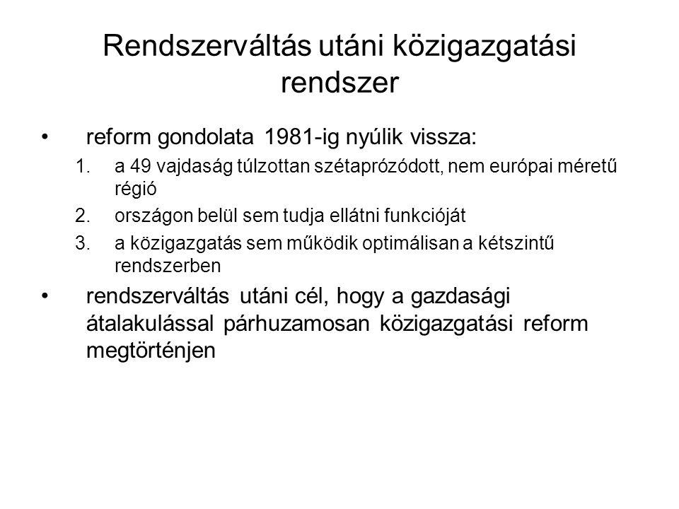 Rendszerváltás utáni közigazgatási rendszer reform gondolata 1981-ig nyúlik vissza: 1.a 49 vajdaság túlzottan szétaprózódott, nem európai méretű régió 2.országon belül sem tudja ellátni funkcióját 3.a közigazgatás sem működik optimálisan a kétszintű rendszerben rendszerváltás utáni cél, hogy a gazdasági átalakulással párhuzamosan közigazgatási reform megtörténjen
