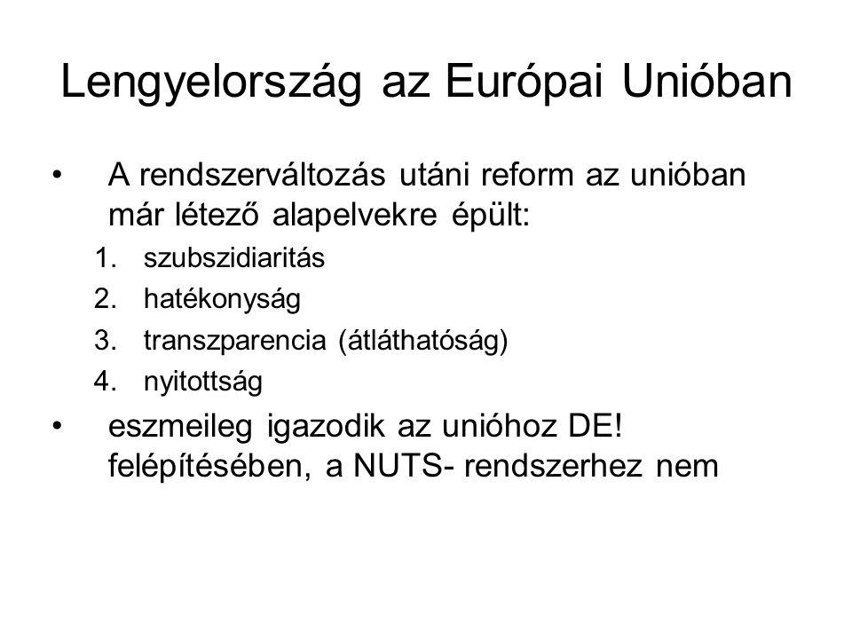 Lengyelország az Európai Unióban A rendszerváltozás utáni reform az unióban már létező alapelvekre épült: 1.szubszidiaritás 2.hatékonyság 3.transzparencia (átláthatóság) 4.nyitottság eszmeileg igazodik az unióhoz DE.