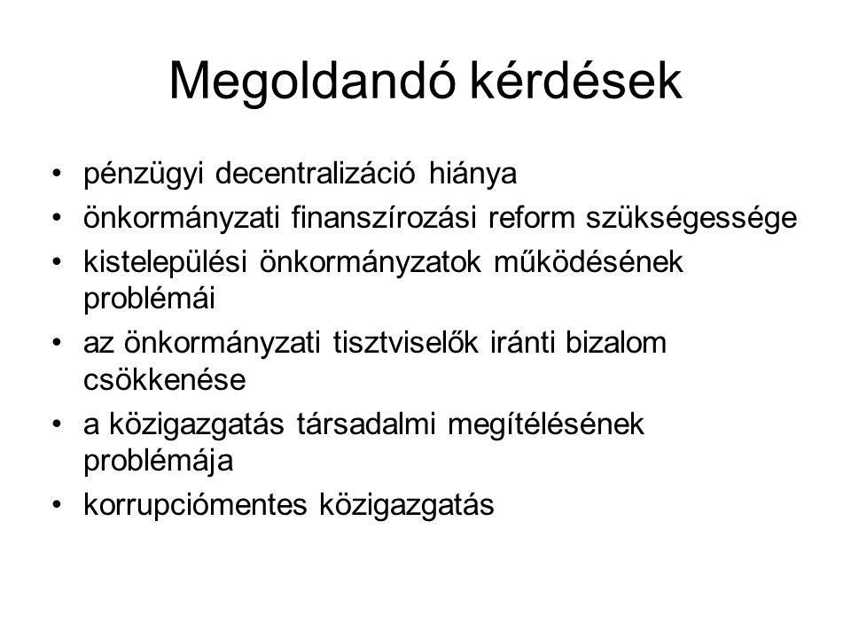 Megoldandó kérdések pénzügyi decentralizáció hiánya önkormányzati finanszírozási reform szükségessége kistelepülési önkormányzatok működésének problém