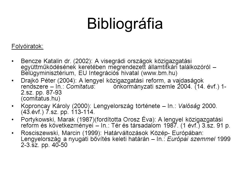 Bibliográfia Folyóiratok: Bencze Katalin dr. (2002): A visegrádi országok közigazgatási együttműködésének keretében megrendezett államtitkári találkoz