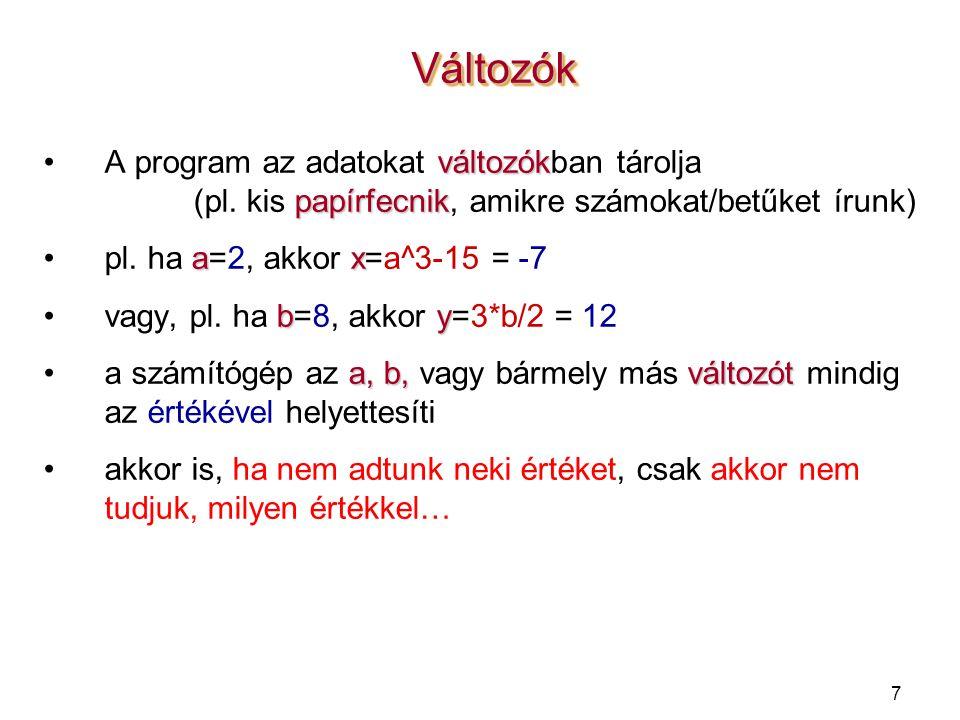 7 VáltozókVáltozók változókA program az adatokat változókban tárolja papírfecnik (pl.