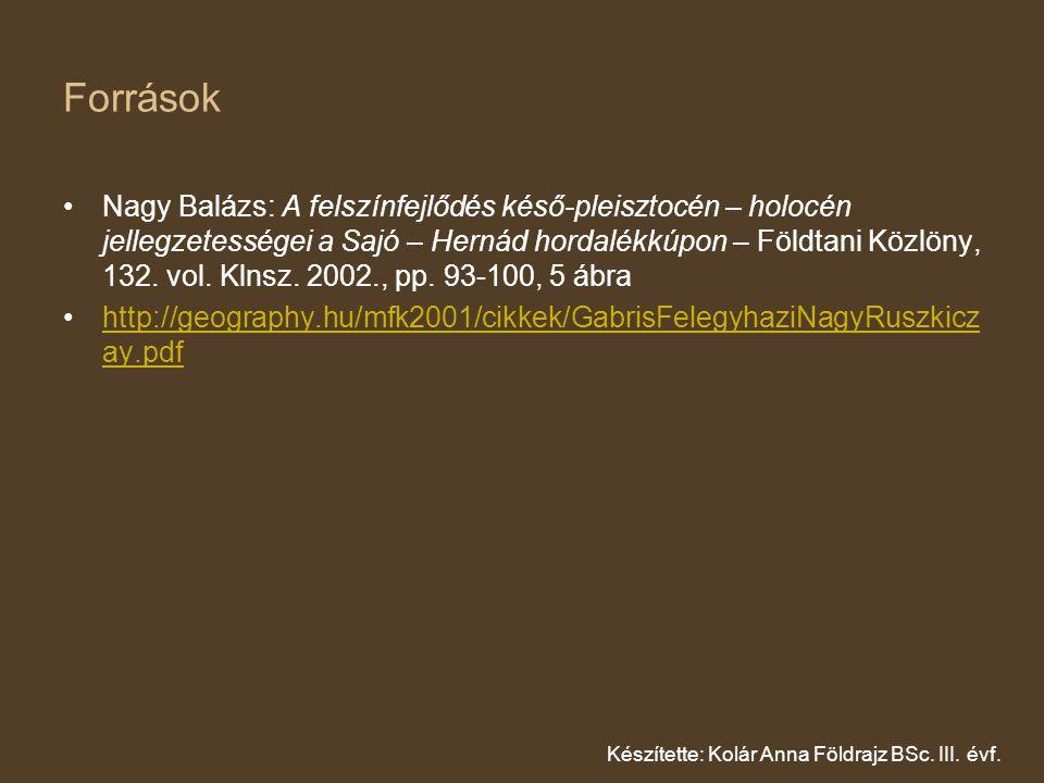 Források Nagy Balázs: A felszínfejlődés késő-pleisztocén – holocén jellegzetességei a Sajó – Hernád hordalékkúpon – Földtani Közlöny, 132.