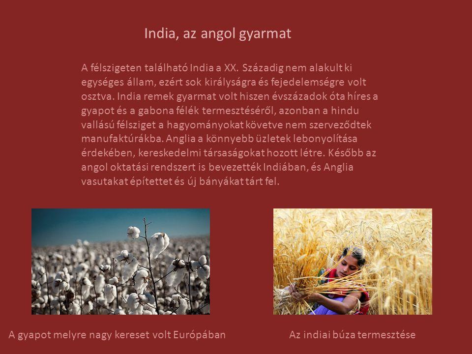 Az indiai nacionalizmus Az angol gyarmat meglehetősen megszorult mikor az angoloknak már nem volt szükségük az eredeti indiai pamutszövetekre és ennek hatására Indiát elárasztotta az olcsóbb és rosszabb minőségű textil.