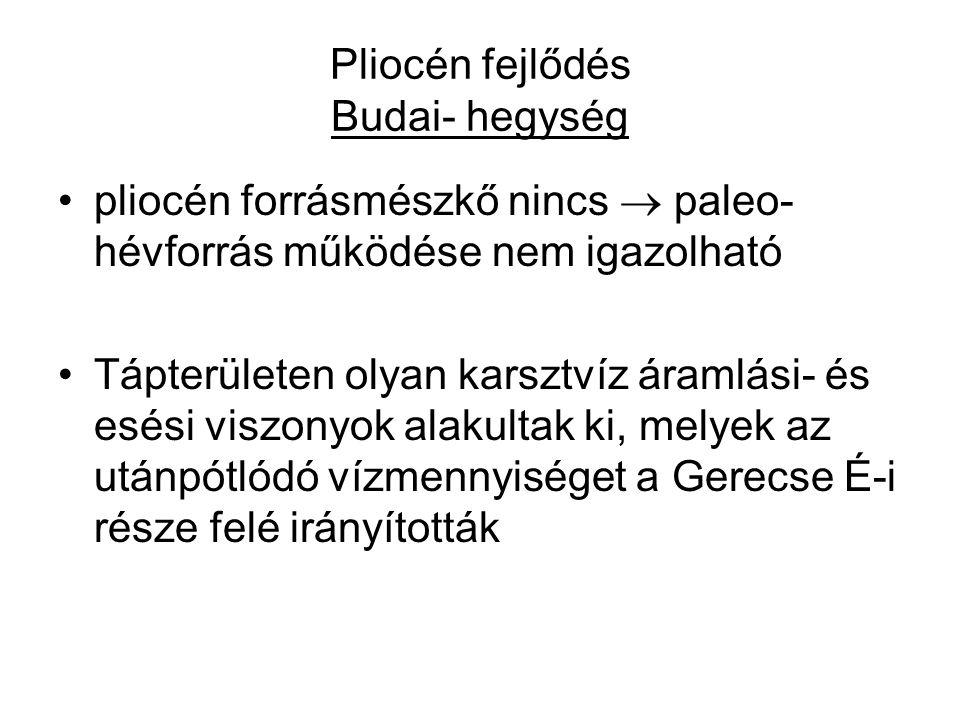 Pliocén fejlődés Budai- hegység pliocén forrásmészkő nincs  paleo- hévforrás működése nem igazolható Tápterületen olyan karsztvíz áramlási- és esési viszonyok alakultak ki, melyek az utánpótlódó vízmennyiséget a Gerecse É-i része felé irányították