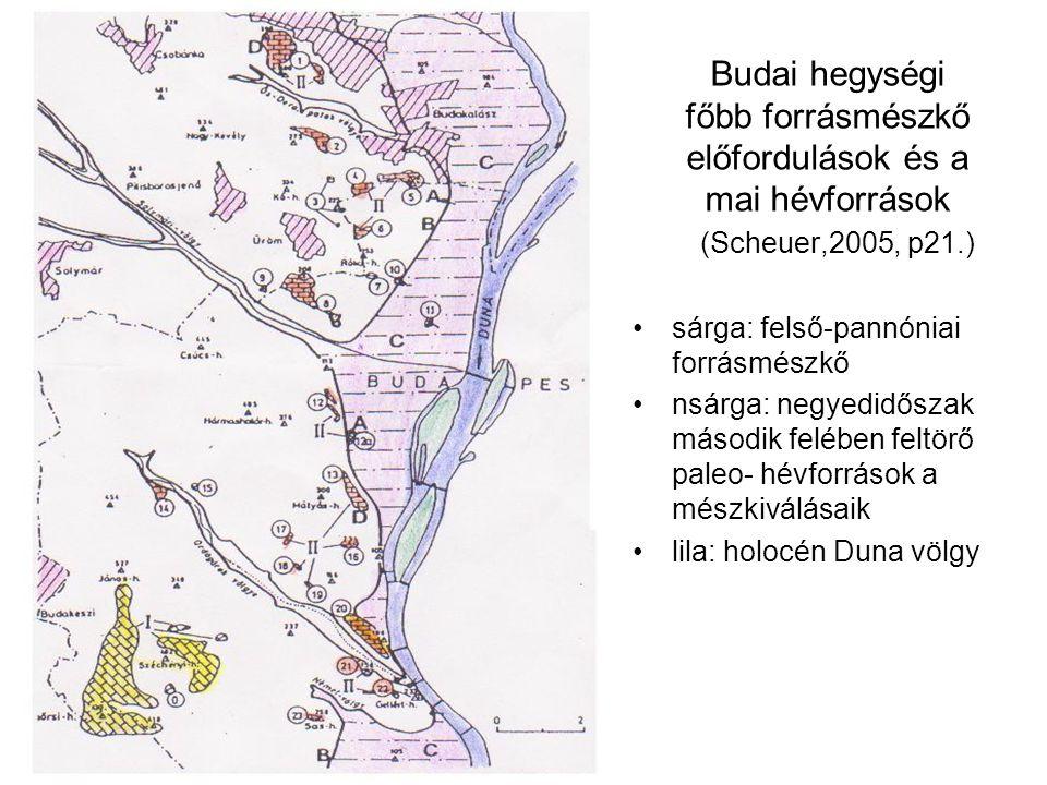 Budai hegységi főbb forrásmészkő előfordulások és a mai hévforrások (Scheuer,2005, p21.) sárga: felső-pannóniai forrásmészkő nsárga: negyedidőszak második felében feltörő paleo- hévforrások a mészkiválásaik lila: holocén Duna völgy