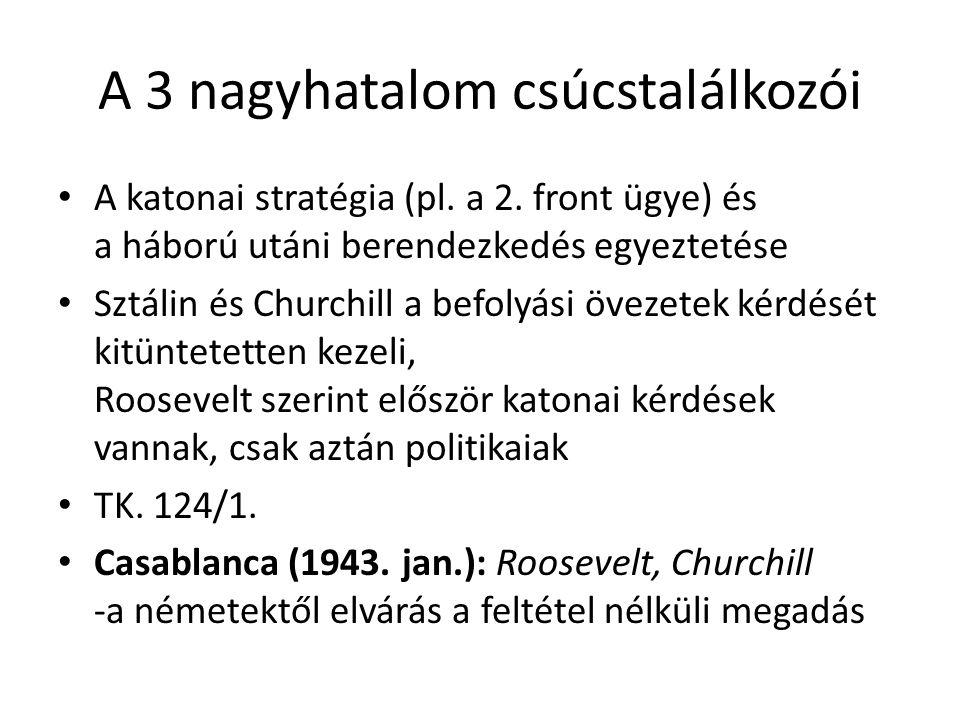 A 3 nagyhatalom csúcstalálkozói A katonai stratégia (pl. a 2. front ügye) és a háború utáni berendezkedés egyeztetése Sztálin és Churchill a befolyási