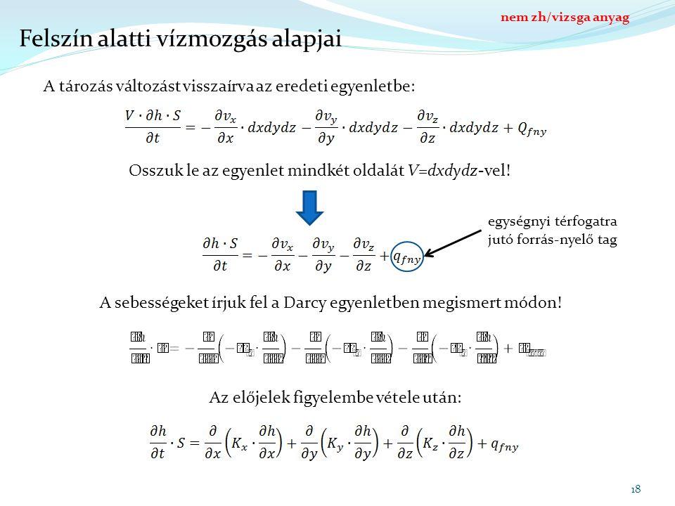 18 Felszín alatti vízmozgás alapjai A tározás változást visszaírva az eredeti egyenletbe: Osszuk le az egyenlet mindkét oldalát V=dxdydz-vel! egységny
