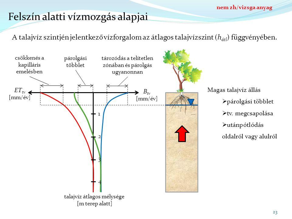 Felszín alatti vízmozgás alapjai talajvíz átlagos mélysége [m terep alatt] B tv [mm/év] ET tv [mm/év] 1 2 3 4 23 A talajvíz szintjén jelentkező vízforgalom az átlagos talajvízszint (h átl ) függvényében.