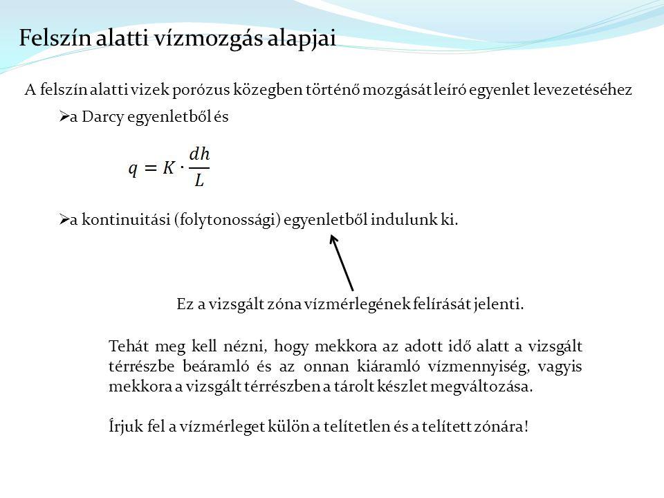 Felszín alatti vízmozgás alapjai A felszín alatti vizek porózus közegben történő mozgását leíró egyenlet levezetéséhez  a Darcy egyenletből és  a kontinuitási (folytonossági) egyenletből indulunk ki.