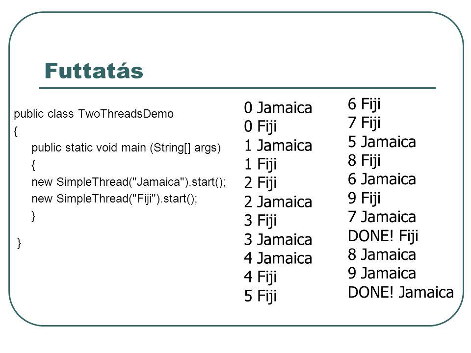 Futtatás public class TwoThreadsDemo { public static void main (String[] args) { new SimpleThread( Jamaica ).start(); new SimpleThread( Fiji ).start(); } 0 Jamaica 0 Fiji 1 Jamaica 1 Fiji 2 Fiji 2 Jamaica 3 Fiji 3 Jamaica 4 Jamaica 4 Fiji 5 Fiji 6 Fiji 7 Fiji 5 Jamaica 8 Fiji 6 Jamaica 9 Fiji 7 Jamaica DONE.