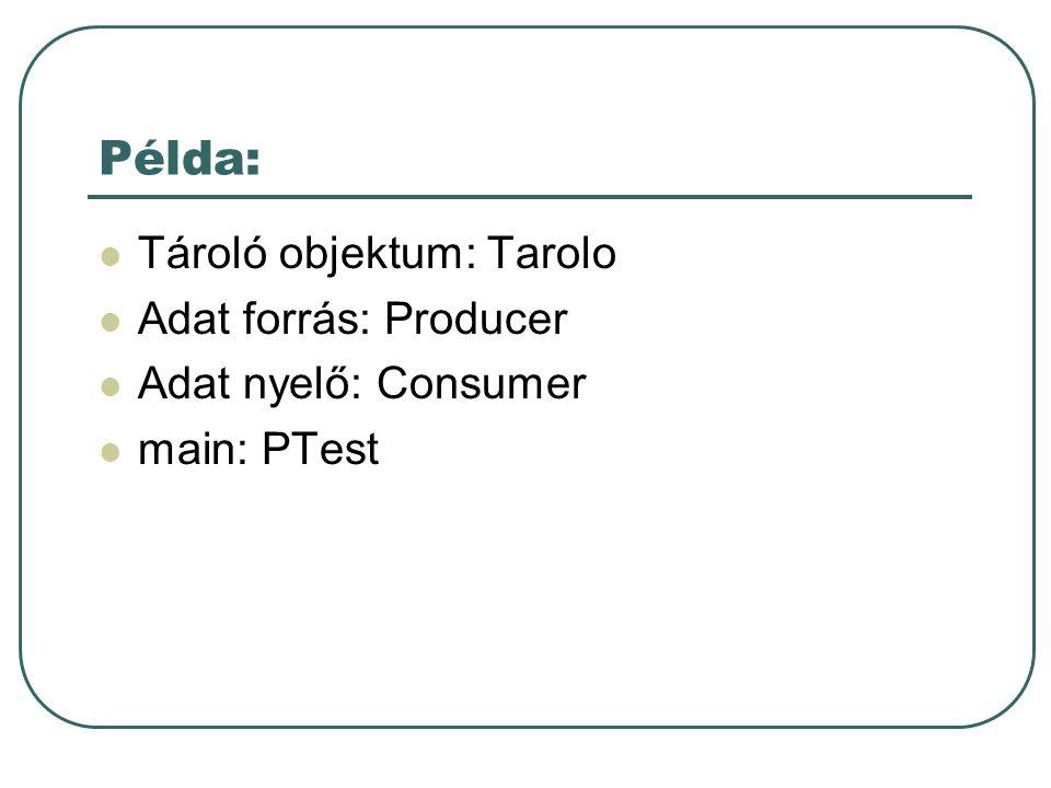Példa: Tároló objektum: Tarolo Adat forrás: Producer Adat nyelő: Consumer main: PTest