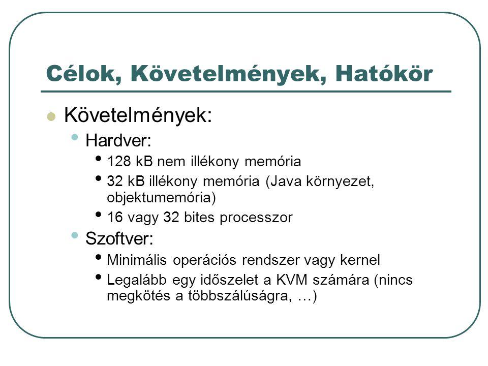 Célok, Követelmények, Hatókör Követelmények: Hardver: 128 kB nem illékony memória 32 kB illékony memória (Java környezet, objektumemória) 16 vagy 32 bites processzor Szoftver: Minimális operációs rendszer vagy kernel Legalább egy időszelet a KVM számára (nincs megkötés a többszálúságra, …)