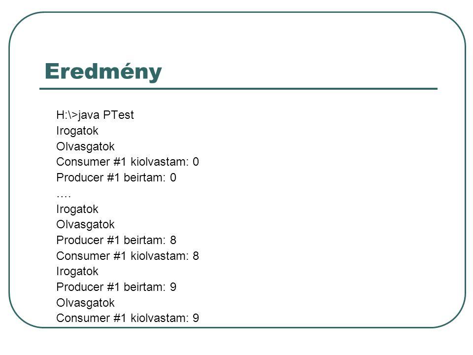 Eredmény H:\>java PTest Irogatok Olvasgatok Consumer #1 kiolvastam: 0 Producer #1 beirtam: 0 ….