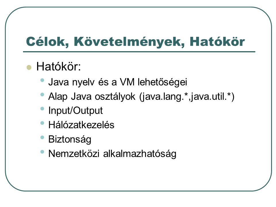 Célok, Követelmények, Hatókör Hatókör: Java nyelv és a VM lehetőségei Alap Java osztályok (java.lang.*,java.util.*) Input/Output Hálózatkezelés Biztonság Nemzetközi alkalmazhatóság