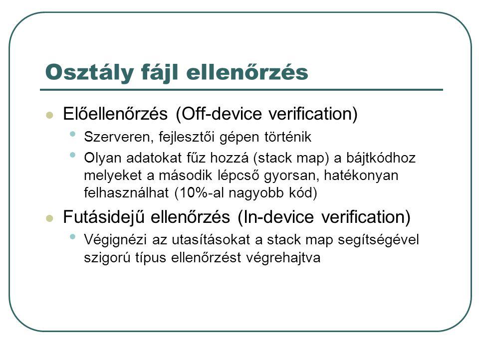 Osztály fájl ellenőrzés Előellenőrzés (Off-device verification) Szerveren, fejlesztői gépen történik Olyan adatokat fűz hozzá (stack map) a bájtkódhoz melyeket a második lépcső gyorsan, hatékonyan felhasználhat (10%-al nagyobb kód) Futásidejű ellenőrzés (In-device verification) Végignézi az utasításokat a stack map segítségével szigorú típus ellenőrzést végrehajtva