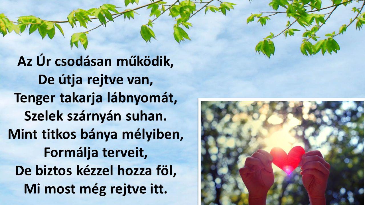 Bölcs terveit megérleli, Rügyet fakaszt az ág.Bimbója bár igénytelen, Pompás lesz a virág.