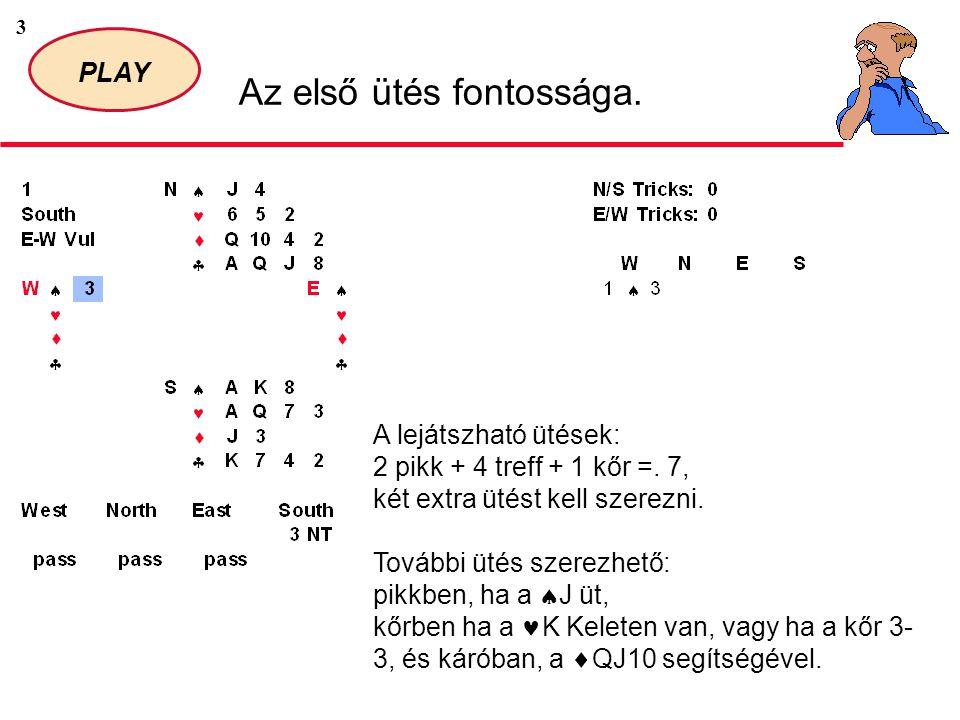 3 PLAY Az első ütés fontossága. A lejátszható ütések: 2 pikk + 4 treff + 1 kőr =.