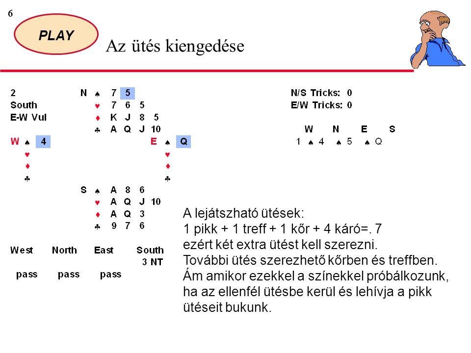 6 PLAY Az ütés kiengedése A lejátszható ütések: 1 pikk + 1 treff + 1 kőr + 4 káró=.