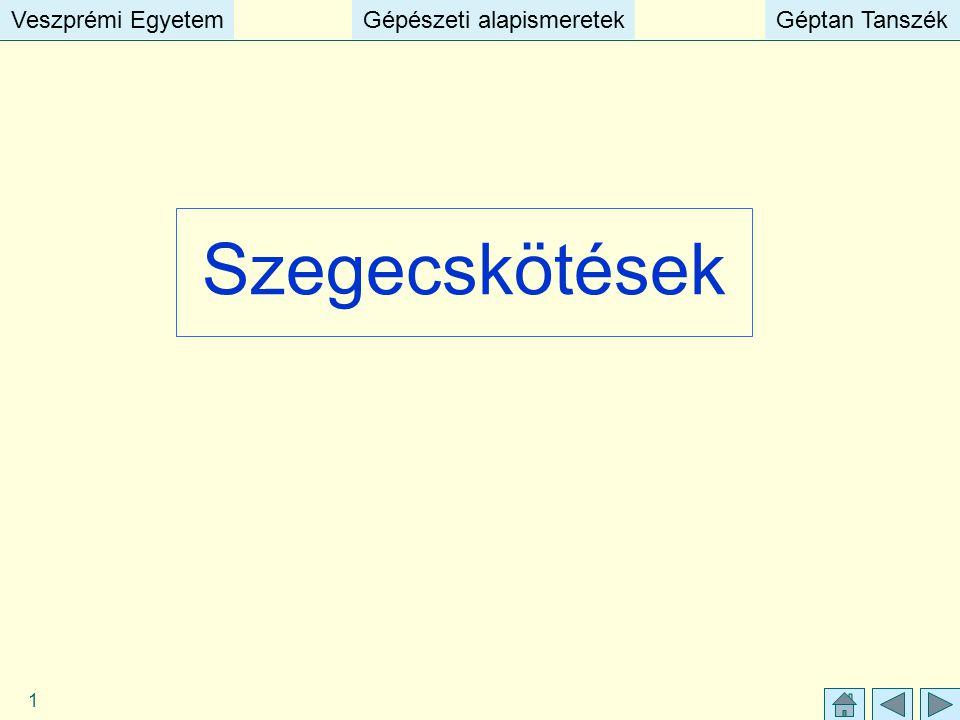 Veszprémi EgyetemGépészeti alapismeretekGéptan TanszékVeszprémi EgyetemGépészeti alapismeretekGéptan Tanszék 1 Szegecskötések